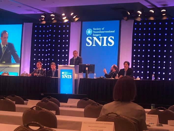 "23/07/2019 : Dr. Luigi Manfre, chairman of ESNR Spine Committee, talking about ""Oh my, It would be Great to Have Back Problems in Europe"" at #SNIS2019"