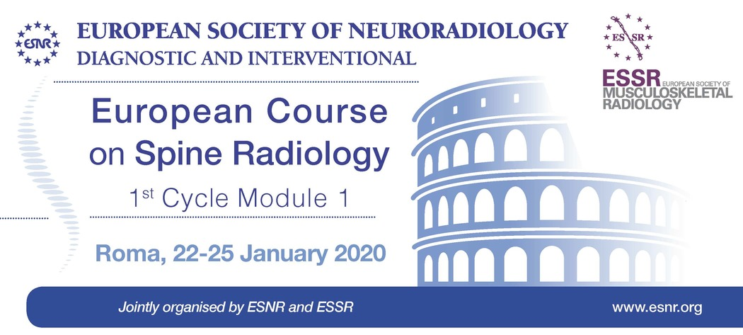 28/06/2019 : Registration for the ESNR - ESSR Course on Spine Radiology, 1st Cycle Module 1 is now open!